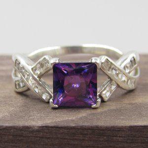 Jewelry - Size 9 Sterling Silver Purple CZ Diamond Band Ring